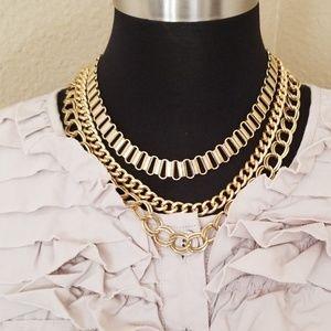 Gold Tone Multi Strand Chunky ercklace